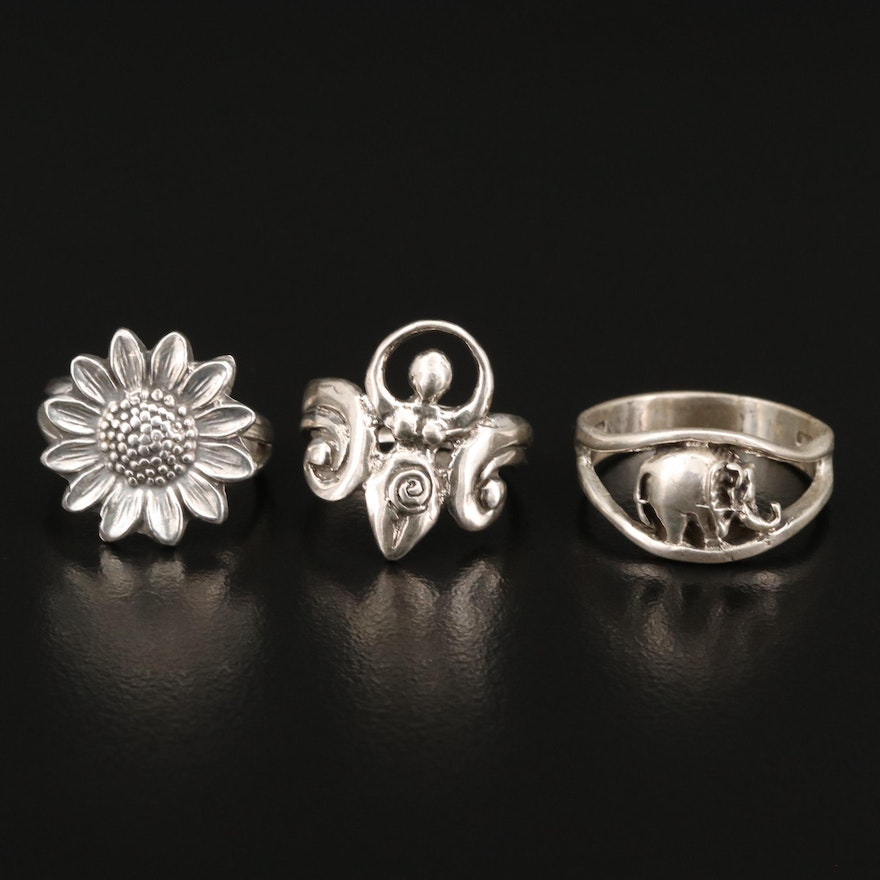 Sterling Silver Rings Featuring Flower and Elephant Rings