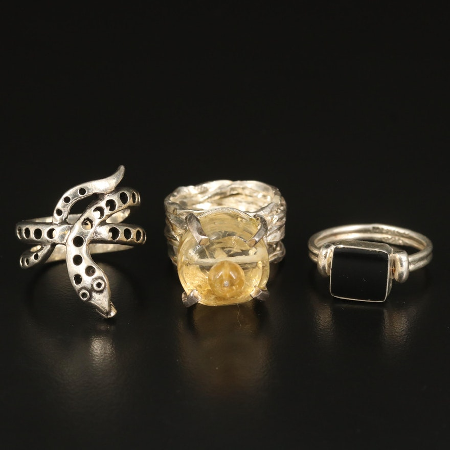Sterling Silver Citrine Crown and Black Onyx Rings with 800 Silver Snake Ring