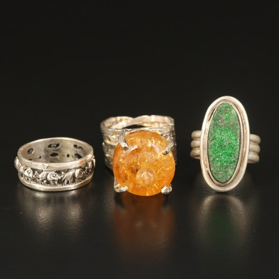 Sterling Citrine and Druzy Rings with Elephant Band