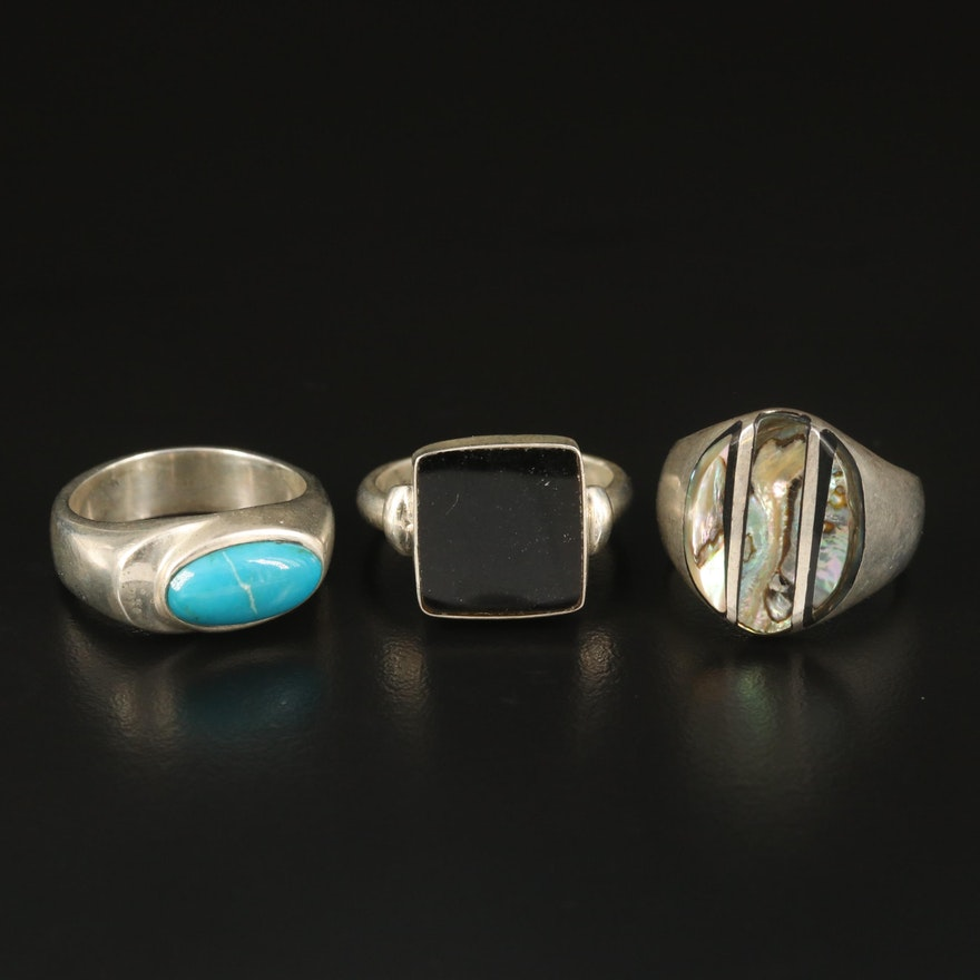 Sterling Abalone, Black Onyx and Turquoise Inlay Rings