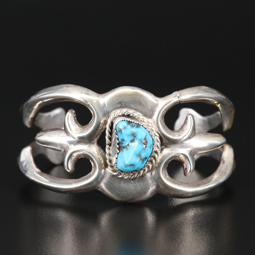 Southwestern Sterling Silver Turquoise Sandcast Cuff