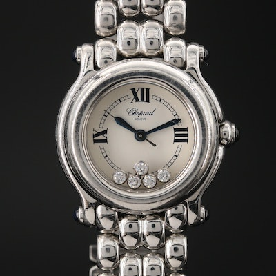 Chopard Happy Sport Diamond and Stainless Steel Wristwatch