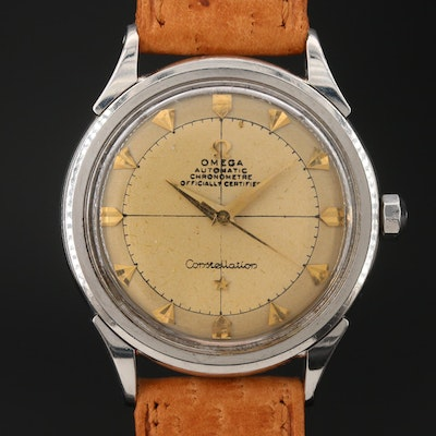 """1954 Omega """"Constellation"""" Stainless Steel Bumper Automatic Wristwatch with Box"""