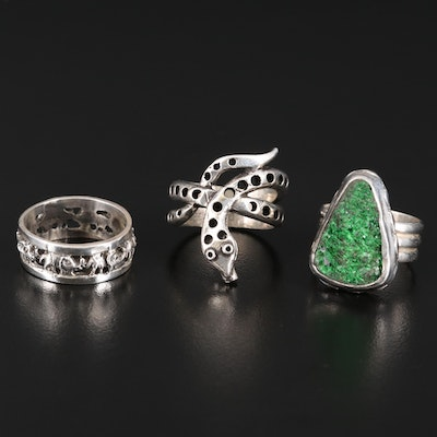 Sterling Silver Elephant and Druzy Rings with 800 Silver Snake Ring