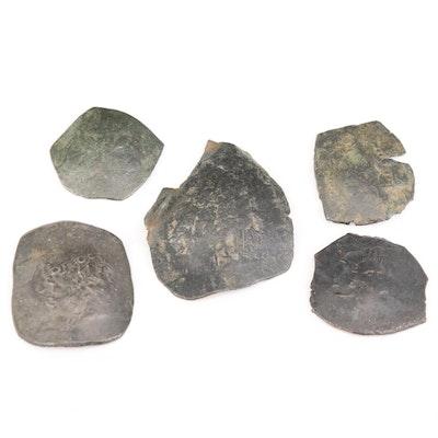 Five Ancient Byzantine Billon Aspron Trachy Coins, ca. 1100