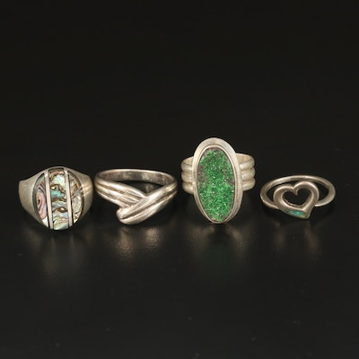 Sterling Rings with Druzy, Abalone and Turquoise