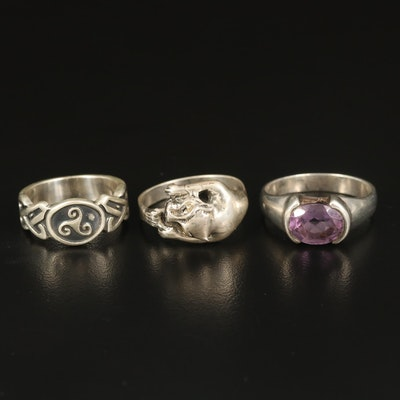 Sterling Triskellion Knot, Amethyst and Feline Rings
