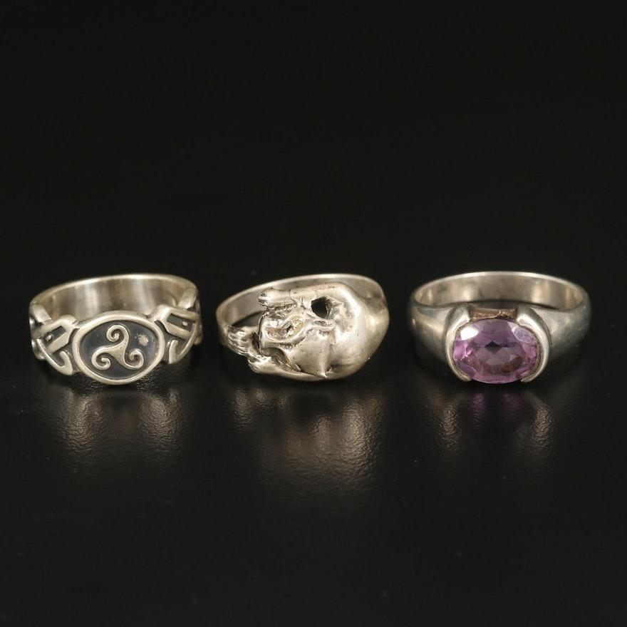 Sterling Triskellion Knot, Amethyst and Feline Rings