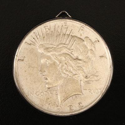 1922 Peace Silver Dollar Pendant