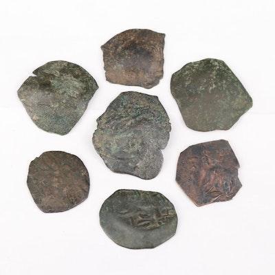 Seven Ancient Byzantine Billon Aspron Trachy Coins, ca. 1100