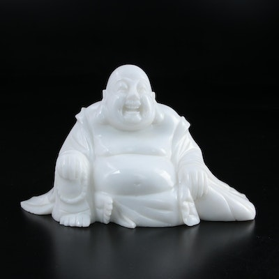 White Marble Laughing Buddha Budai Figure