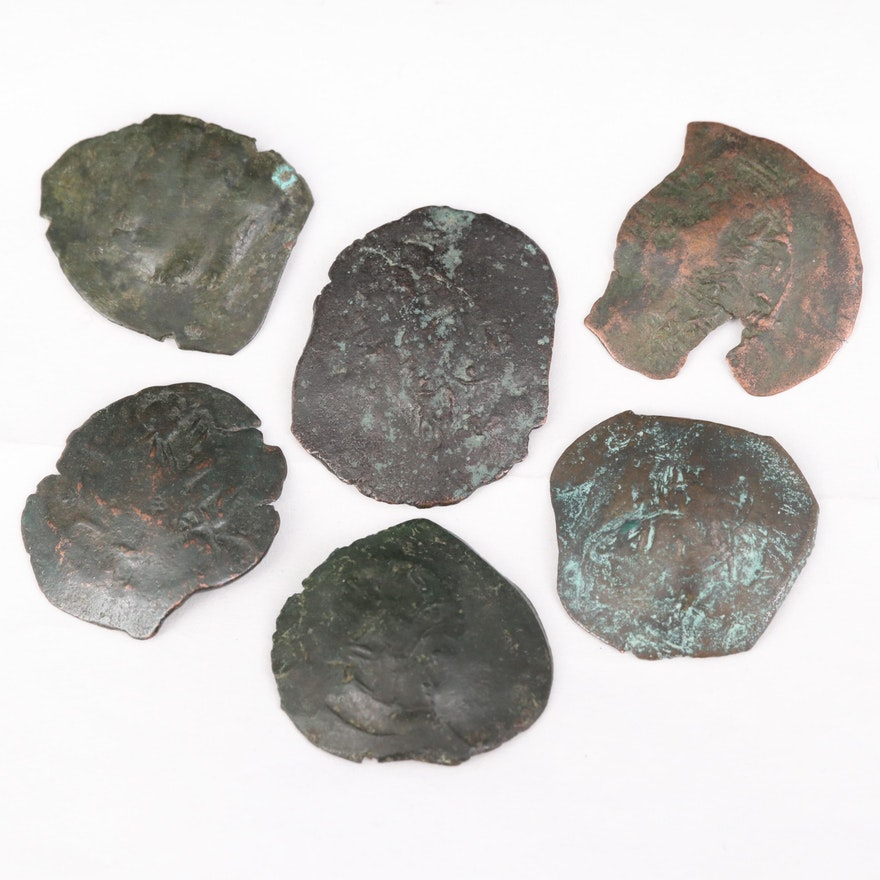 Six Ancient Byzantine Billon Aspron Trachy Coins, ca. 1100