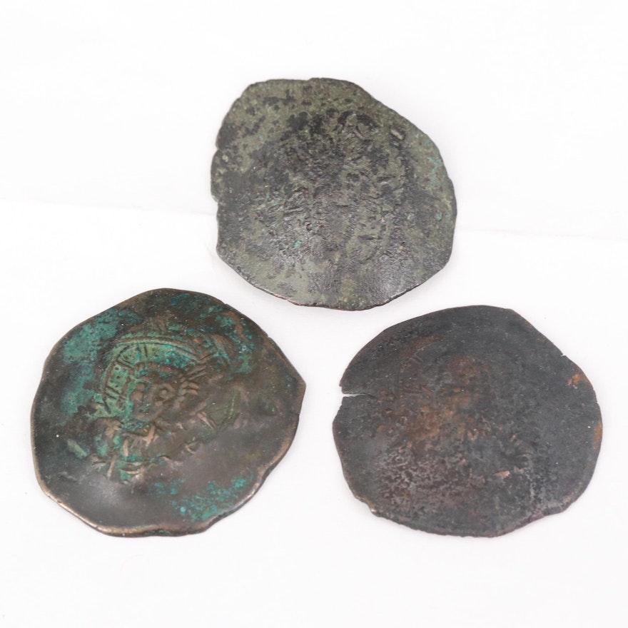 Three Byzantine Billon Aspron Trachy Coins of Alexius I, Comnenus, ca. 1195