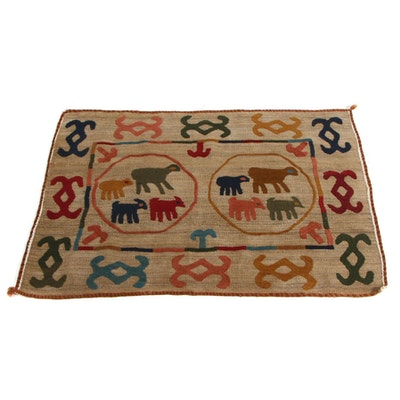 2'11 x 4'1 Handwoven Central Asian Uzbek Embroidered Accent Rug