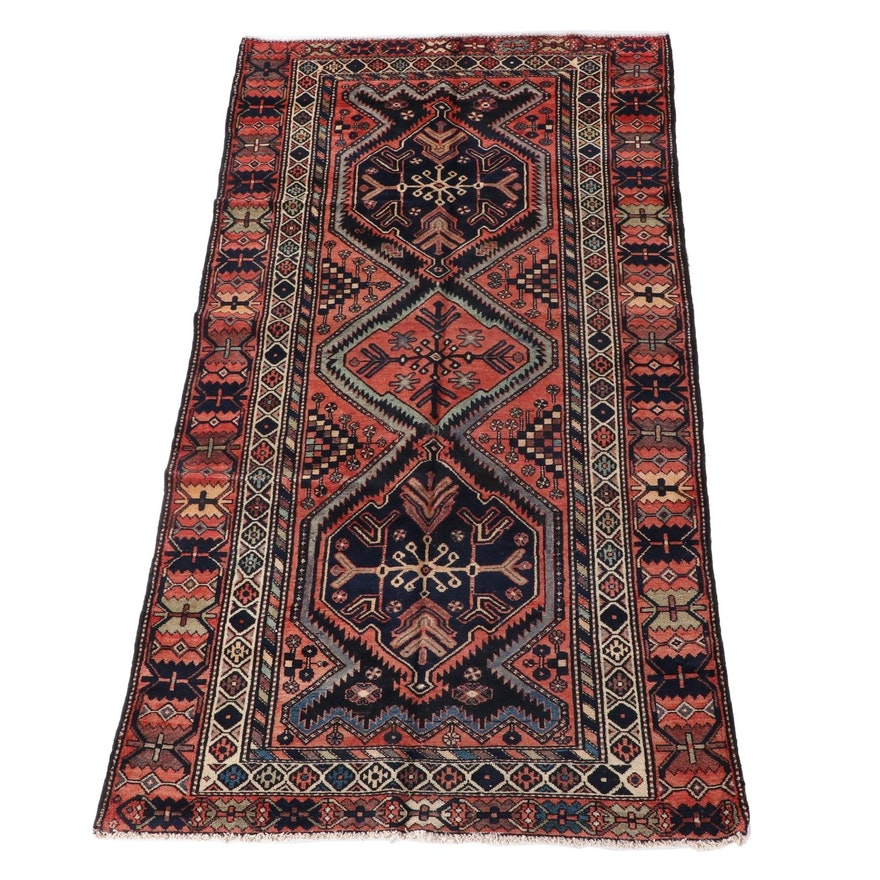 4'10 x 9'9 Hand-Knotted Persian Yalameh Wool Long Rug