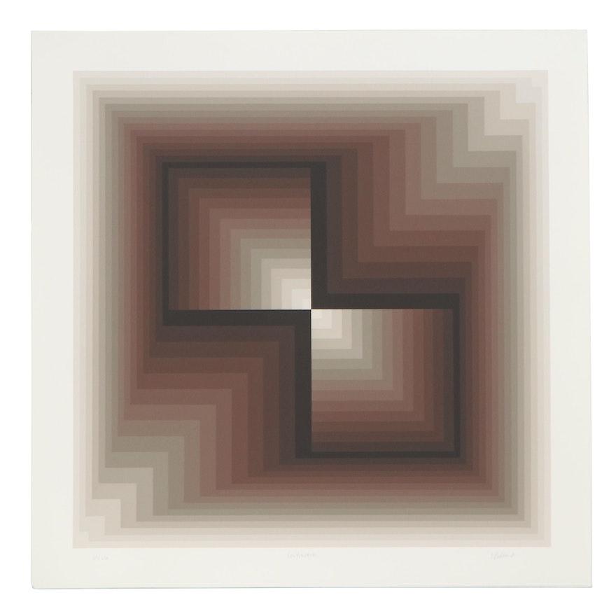 """Jurgen Peters Op Art Serigraph """"Contraction,"""" 1981"""