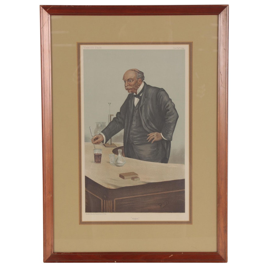 Vanity Fair Color Lithograph Caricature of John Strutt, 3rd Baron Rayleigh