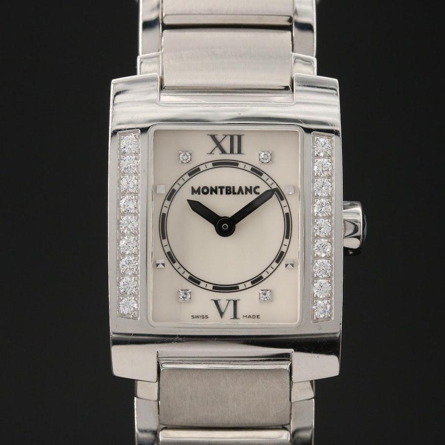 "Montblanc ""Profile"" Stainless Steel and Diamond Quartz Wristwatch"