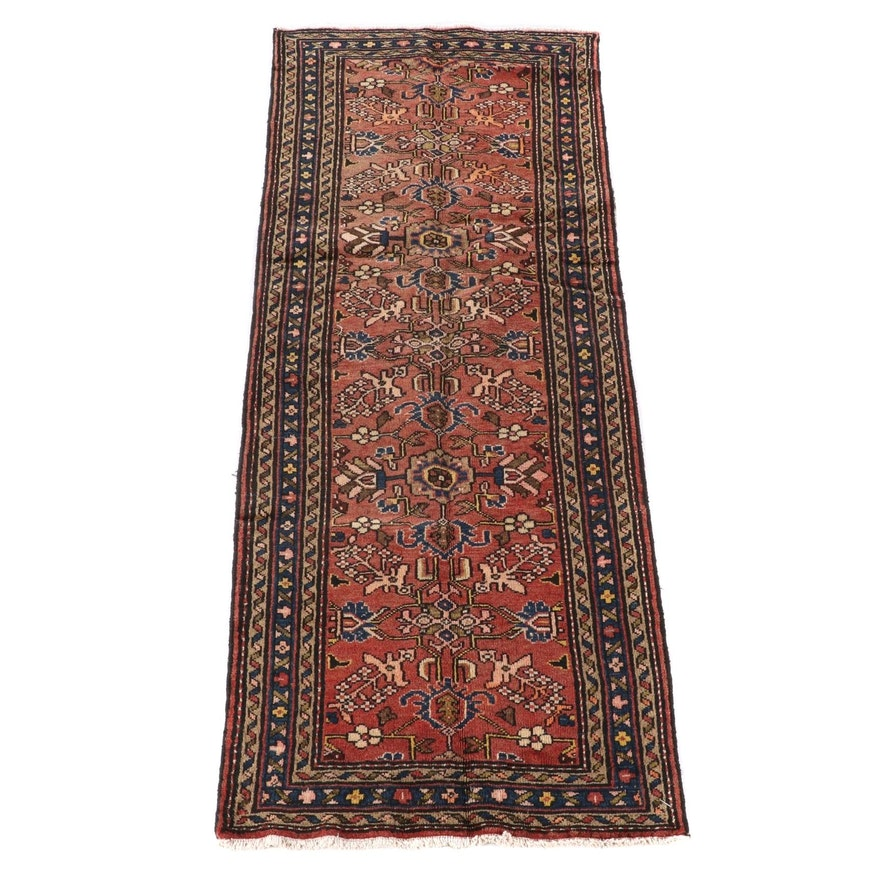 3'5 x 9'6 Hand-Knotted Persian Hamadan Wool Long Rug