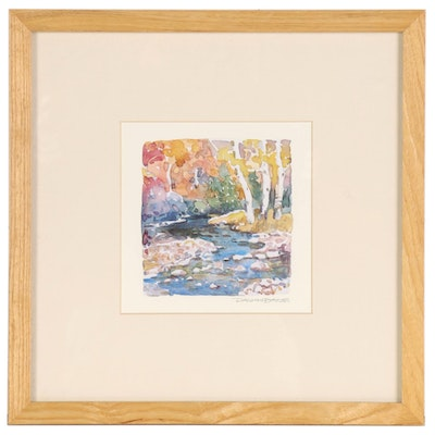 Offset Lithograph after Dawna Barton of Forest Creek, Late 20th Century