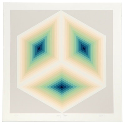 "Jurgen Peters Op Art Serigraph ""Imaginary Triangle,"" 1981"