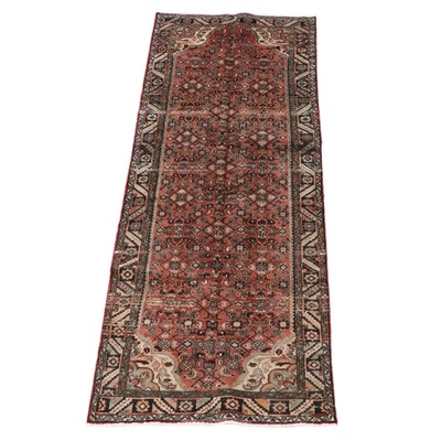 3'7 x 9'8 Hand-Knotted Persian Hamadan Wool Long Rug