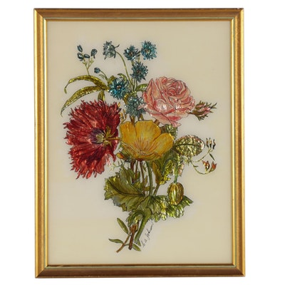 S.A. Johnson Mixed Media Painting of Floral Arrangement, Late 20th Century
