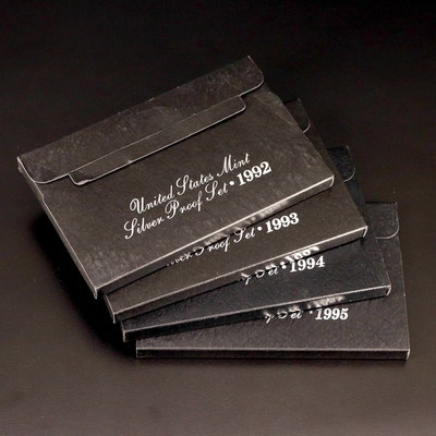 Four U.S. Mint Silver Proof Sets, 1992–1995