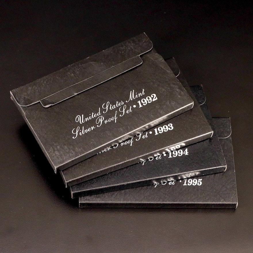 Four U.S. Mint Silver Proof Sets, 1992–1995