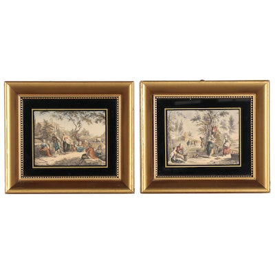 Hand-Colored Lithographs after Francesco Bartolozzi of Summer Scenes