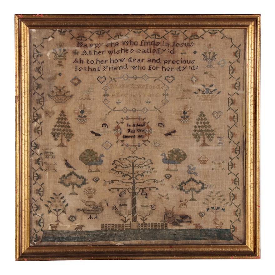 Mary Lawford Cross-Stitch Adam and Eve Needlework Sampler, 1821