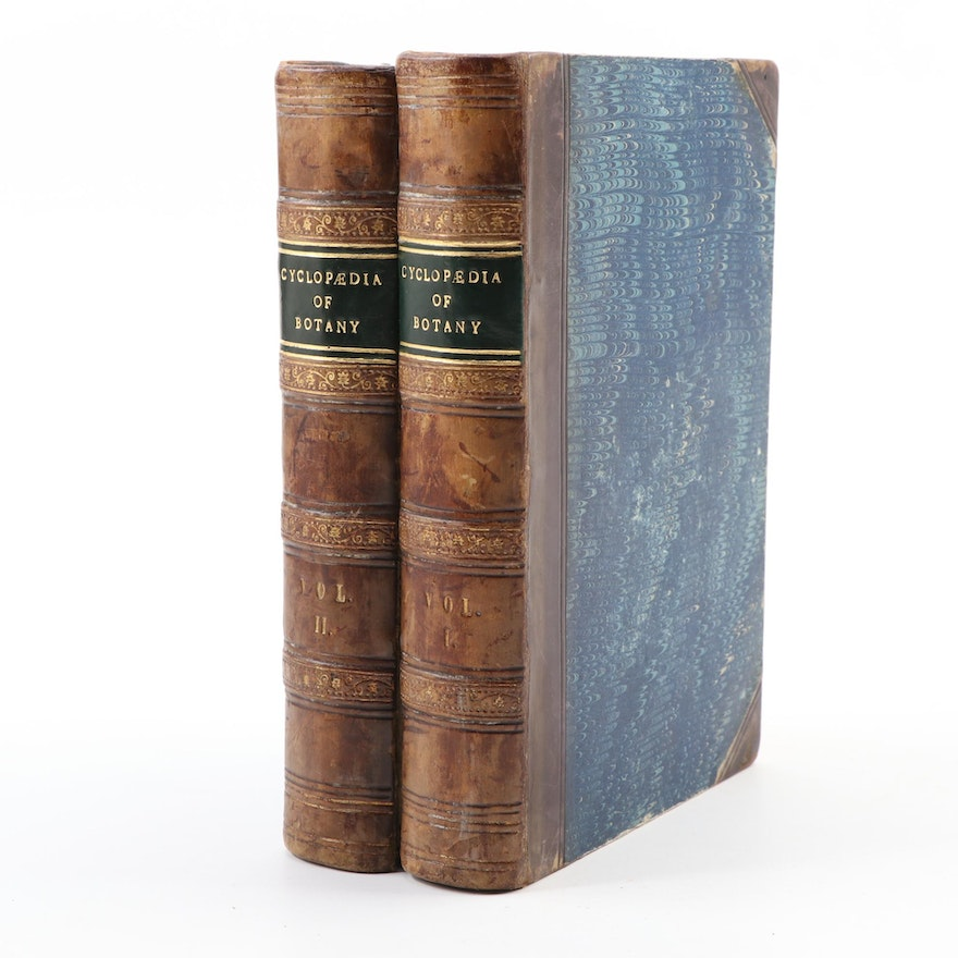 """""""The Cyclopædia of Botany"""" Two-Volume Set by Richard Brook, Mid-19th Century"""
