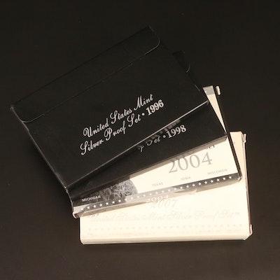 Four U.S. Mint Silver Proof Sets, 1996–2007
