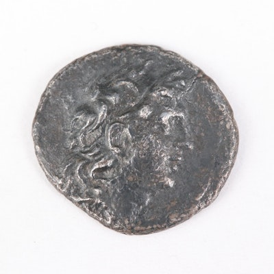 Ancient Seleukid Empire, Tryphon Billon Drachm Coin, ca. 142 B.C.