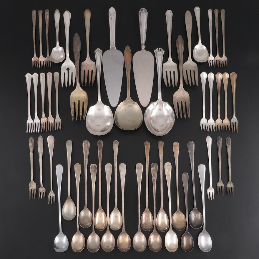 Sterling Handled Pie Server with Other Silver Plate Utensils, Early-Mid 20th C