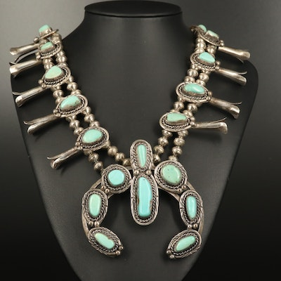Western Style Sterling Turquoise Squash  Blossom Necklace