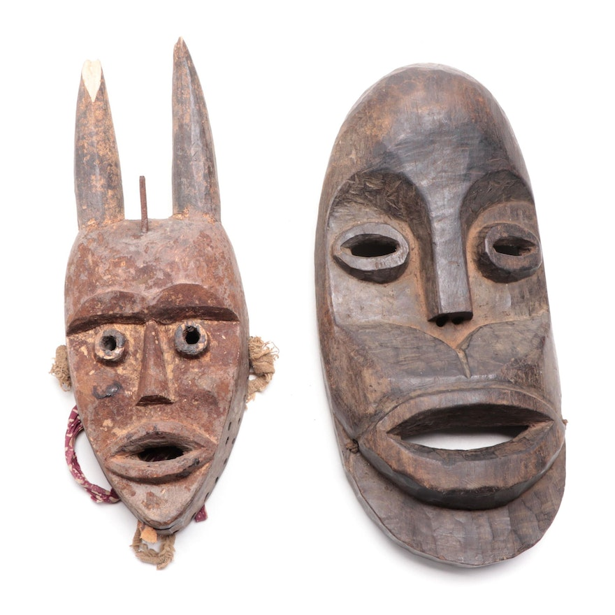 Dan Style Hand-Carved Wooden Masks, West Africa