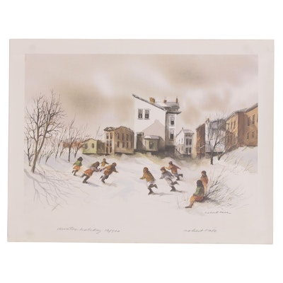 "Robert Fabe Offset Lithograph ""Winter Holiday,"" Late 20th Century"