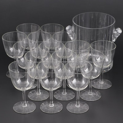 Glass Ice Bucket and Wine Glasses