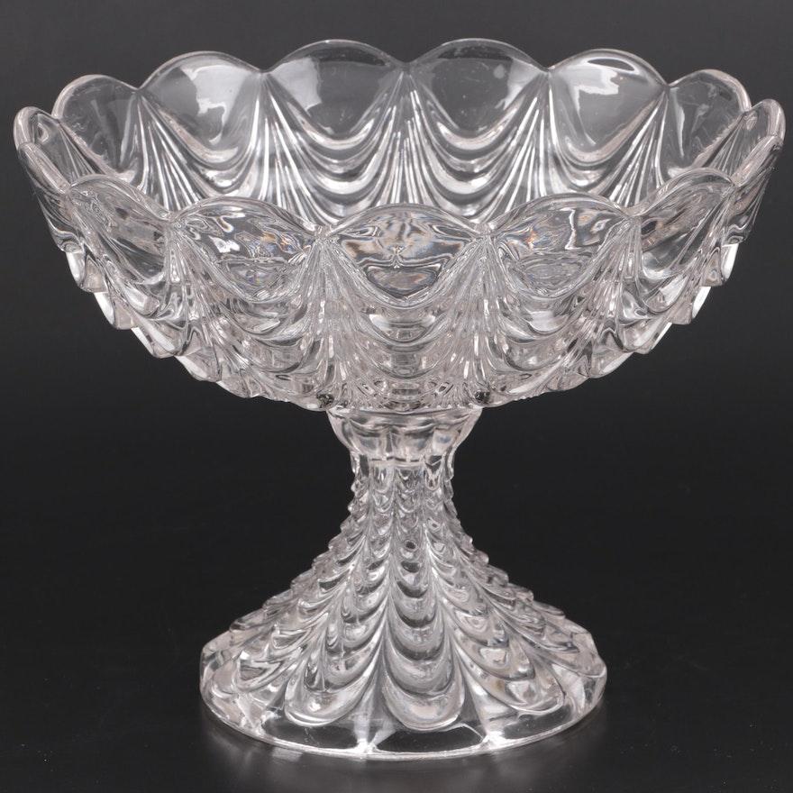 """Fostoria """"Heavy Drape"""" Pressed Glass Compote, Early 20th Century"""