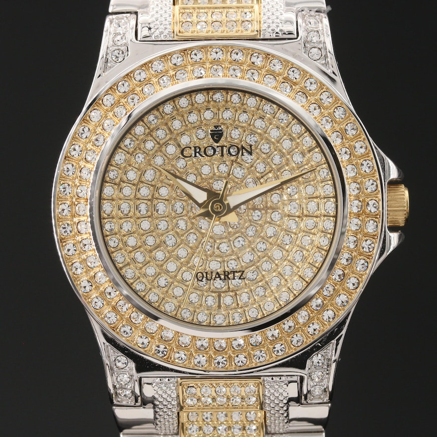 Croton Anniversary Edition Crystal Accented Two Tone Quartz Wristwatch