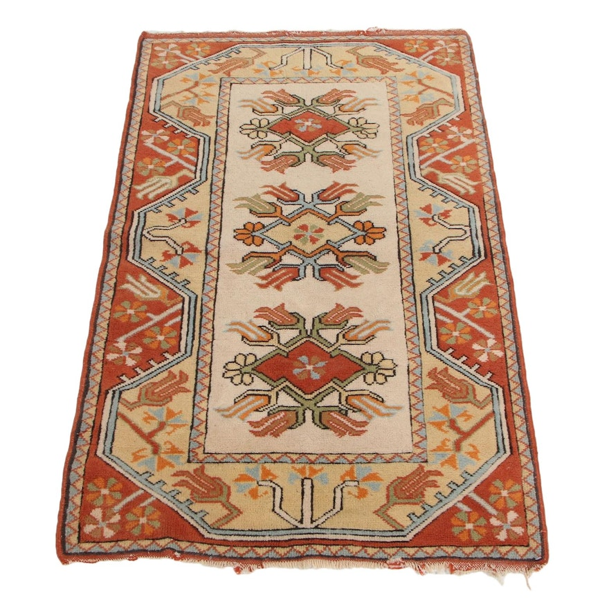 2'8 x 4'4 Hand-Knotted Turkish Milas Accent Rug