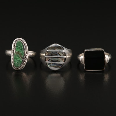 Sterling Rings Including Druzy, Abalone and Glass