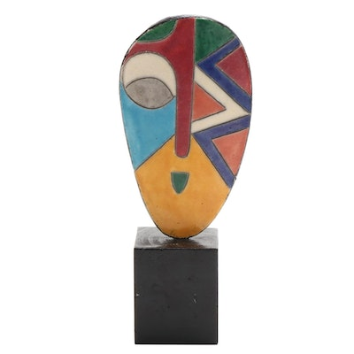 Ceramic Abstract Style Mask Sculpture
