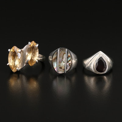 Sterling Rings Including Citrine, Garnet and Abalone