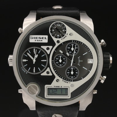 "Diesel ""Mr. Daddy"" Four Time Zone Stainless Steel Quartz Chronograph Wristwatch"