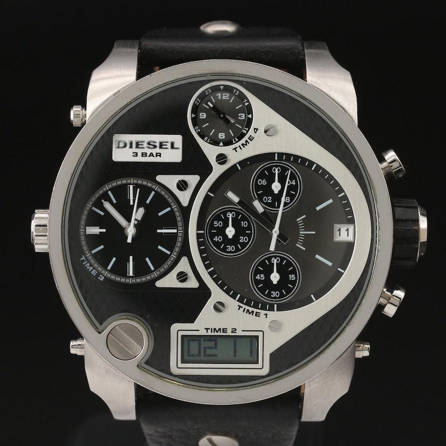 "Diesel ""Mr. Daddy"" Four Time Zone Stainless Steel Quartz Chronograph Wristwatch"