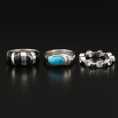 Sterling Faux Turquoise and Glass Rings with Topaz Eternity Band