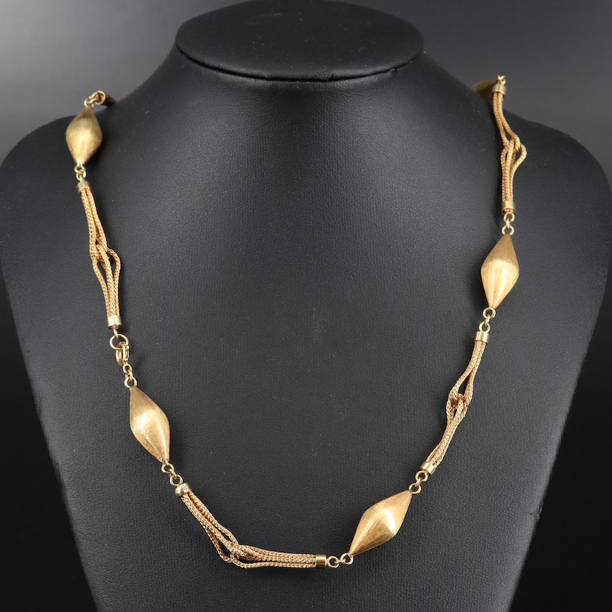 14K Biconical Beaded Necklace
