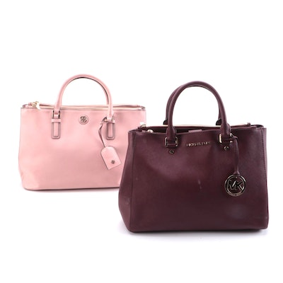 Tory Burch Pink and MICHAEL Michael Kors Burgundy Saffiano Leather Two-Way Bags
